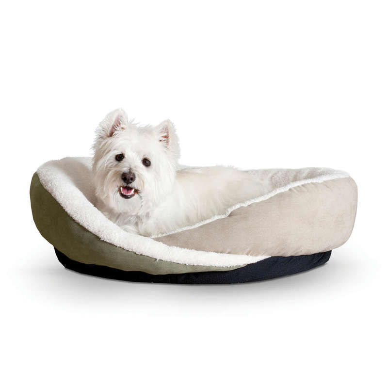 "K&H Pet Products Huggy Nest Pet Bed Small Green / Tan 22"" x 19"" x 6"""