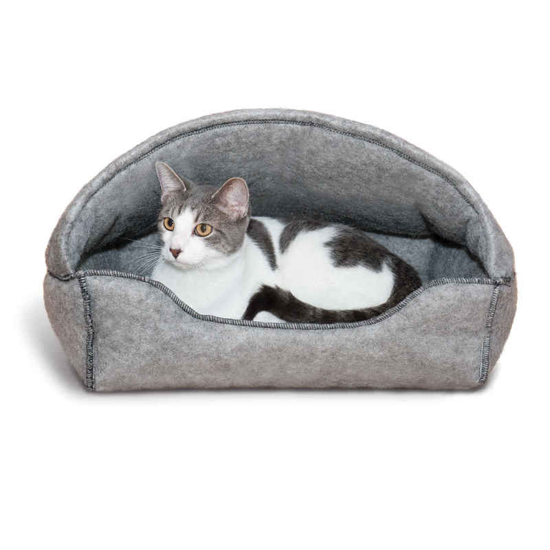 "K&H Pet Products Amazin' Kitty Lounger Hooded Bed Gray 13"" x 17"" x 11"""