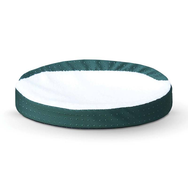 "K&H Pet Products Ultra Memory Foam Oval Pet Cuddle Nest Green 13"" x 19"" x 4"""
