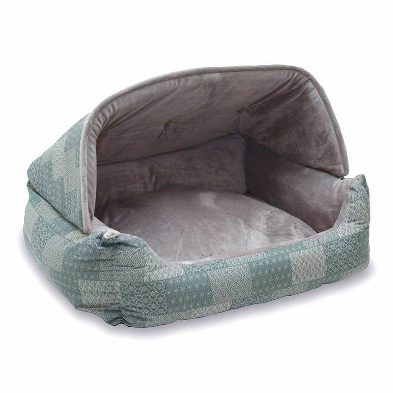 "K&H Pet Products Lounge Sleeper Hooded Pet Bed Teal 20"" x 25"" x 13"""