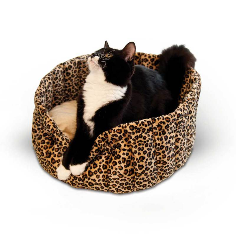 "K&H Pet Products Lazy Cup Cat Bed Small Leopard 16"" x 16"" x 7"""