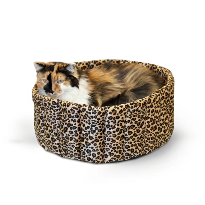 "K&H Pet Products Lazy Cup Cat Bed Large Leopard 20"" x 20"" x 7"""