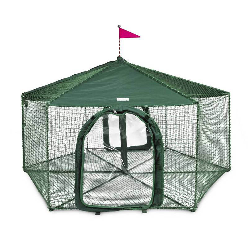 "Kittywalk Gazebo Yard and Garden Outdoor Cat Enclosure Green 70"" x 70"" 38"""