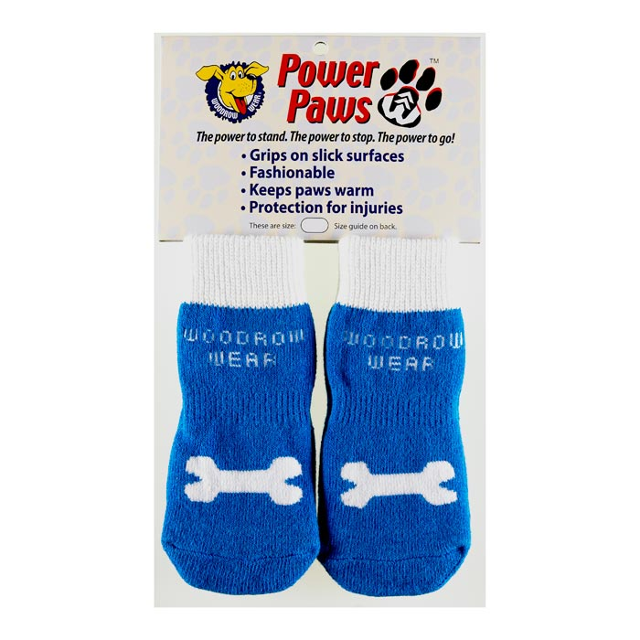 "Woodrow Wear Power Paws Advanced Extra Extra Extra Large Blue / White Bone 3.5"" - 3.88"" x 3.5"" - 3.88"""