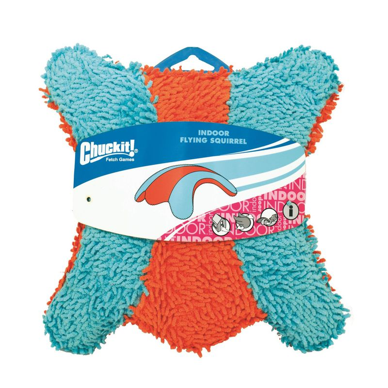 "Petmate Chuckit Indoor Squirrel Dog Toy Medium Orange/Blue 3"" x 8.5"" x 9"""