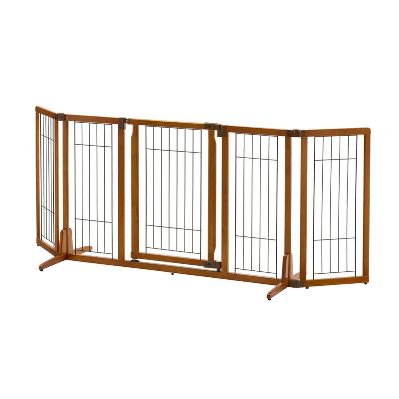 "Richell Wide Premium Plus Freestanding Pet Gate with Door Brown 55.1"" - 84.3"" x 20.5"" - 26"" x 32"""