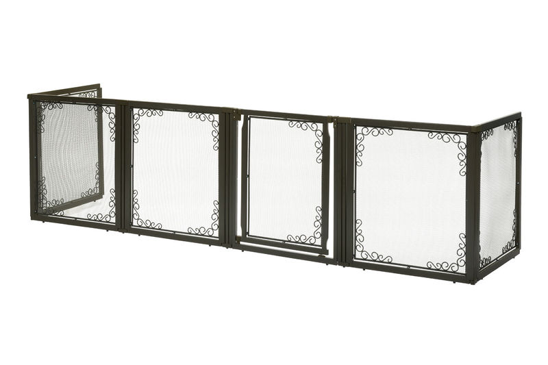 "Richell Convertible Elite Mesh Pet Gate 6 Panels Brown 130"" - 134"" x 31.7"" - 33.7"" x 35.8"""