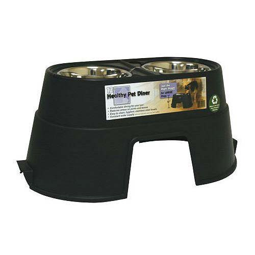 "Our Pets Healthy Pet Diner Elevated Dog Feeder Large Black 27"" x 14.5"" x 12"""