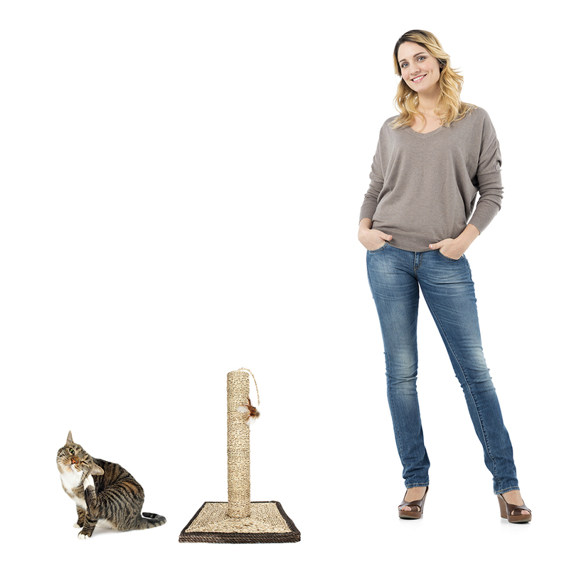 "18"" Sisal Cat Scratching Post and Feather with Base"