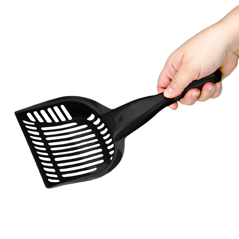 Black Cat Litter Scoop with Reinforced Comfort Handle