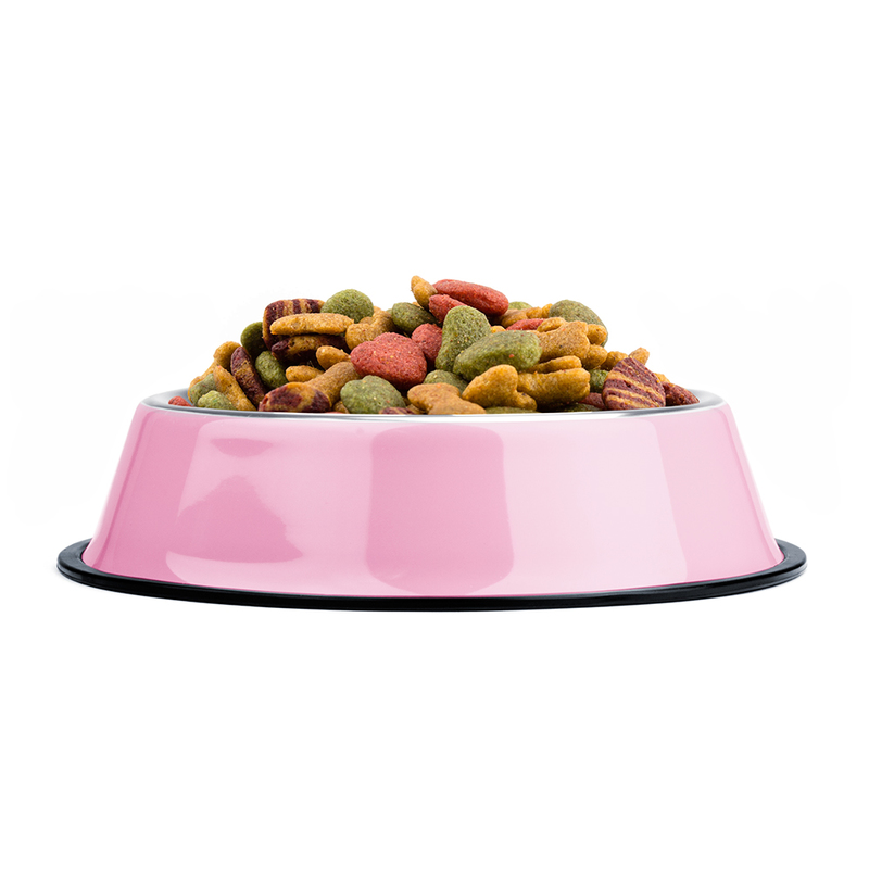 72oz. Pink Stainless Steel Dog Bowl