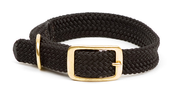 "Mendota Pet Double Braid Collar: Black, 1""W Up to 18"""