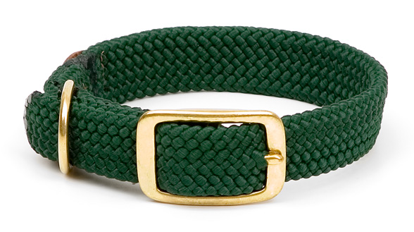 "Mendota Pet Double Braid Collar: Green, 1""W Up to 18"""