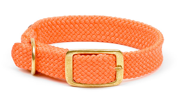 "Mendota Pet Double Braid Collar: Orange, 1""W Up to 18"""