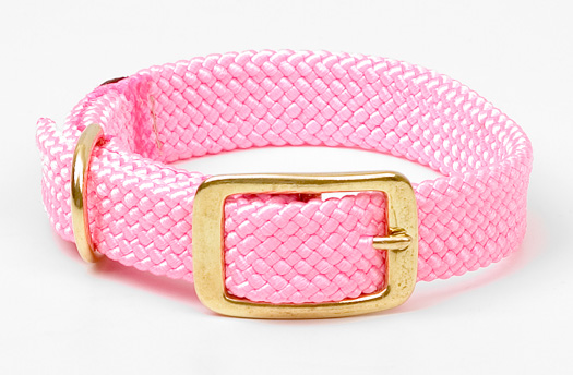 "Mendota Pet Double Braid Collar: Hot Pink, 1""W Up to 18"""