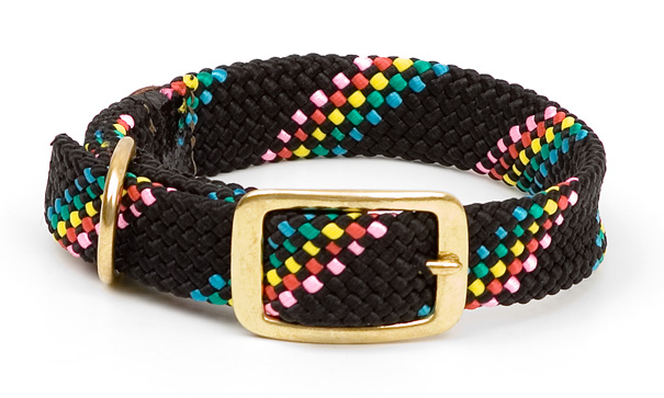 "Mendota Pet Double Braid Collar: Black Conf, 1""W Up to 18"""