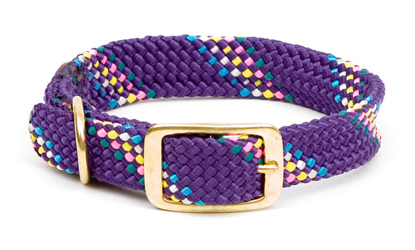 "Mendota Pet Double Braid Collar: Purple Conf, 1""W Up to 18"""