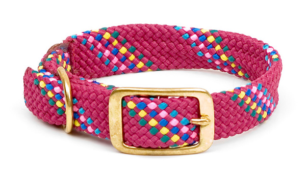 "Mendota Pet Double Braid Collar: Rasp Conf, 1""W Up to 18"""
