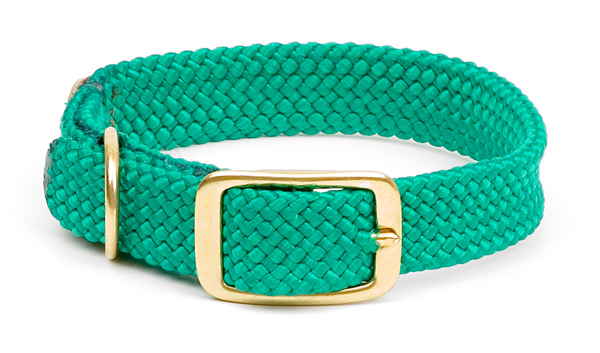 "Mendota Pet Double Braid Collar: Kelly Green, 1""W Up to 18"""