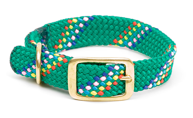 "Mendota Pet Double Braid Collar: Kelly Conf, 1""W Up to 18"""