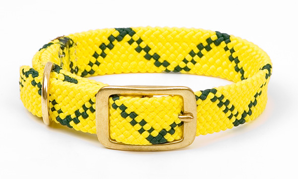 "Mendota Pet Double Braid Collar: Hi Viz Yellow, 1""W Up to 18"""