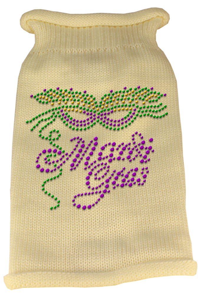 Mardi Gras Rhinestud Knit Pet Sweater XS Cream