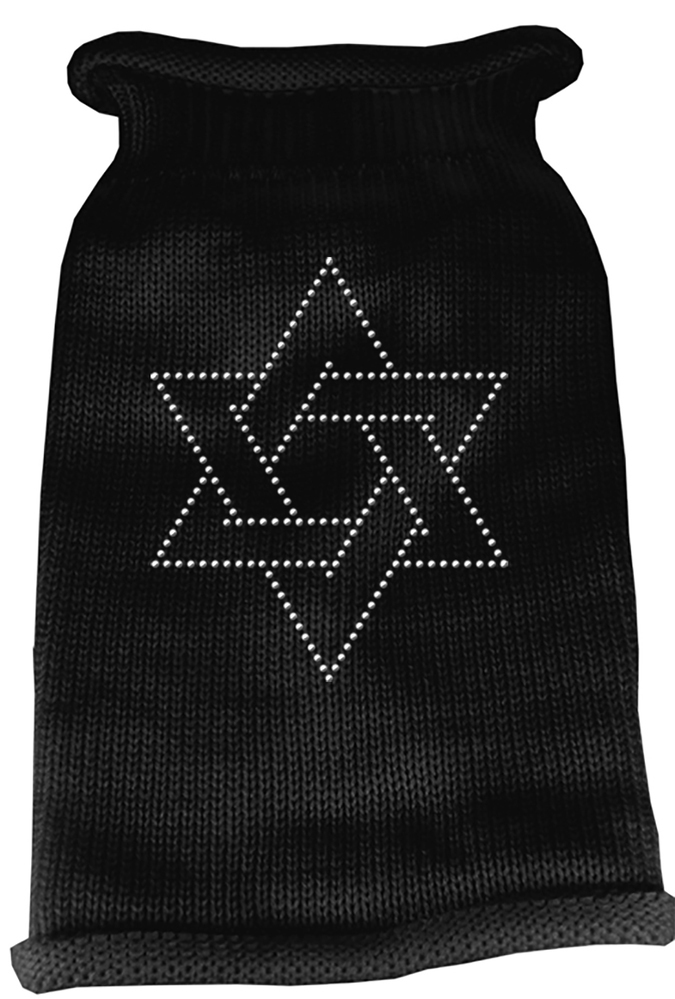 Star of David Rhinestone Knit Pet Sweater XL Black