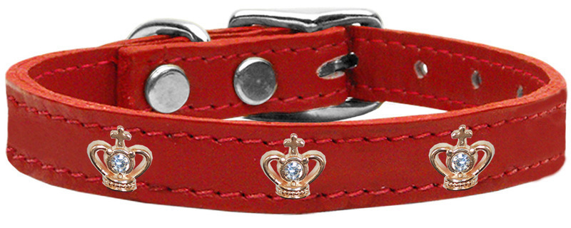 Gold Crown Widget Genuine Leather Dog Collar Red 18