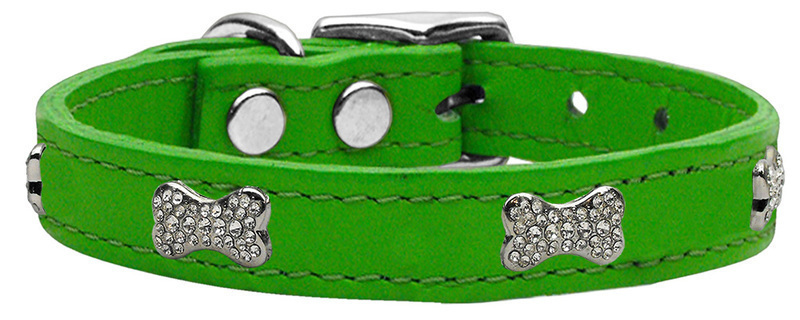 Crystal Bone Genuine Leather Dog Collar Emerald Green 26
