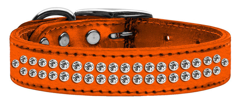 Two Row Clear Crystal Metallic Leather Orange 16