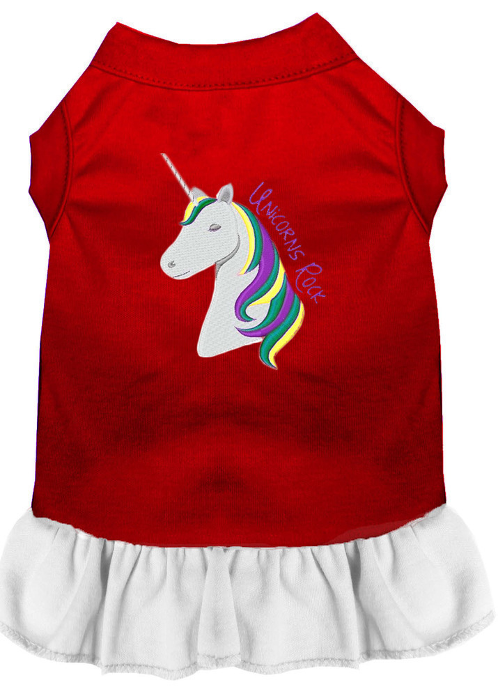 Unicorns Rock Embroidered Dog Dress Red with White Sm (10)
