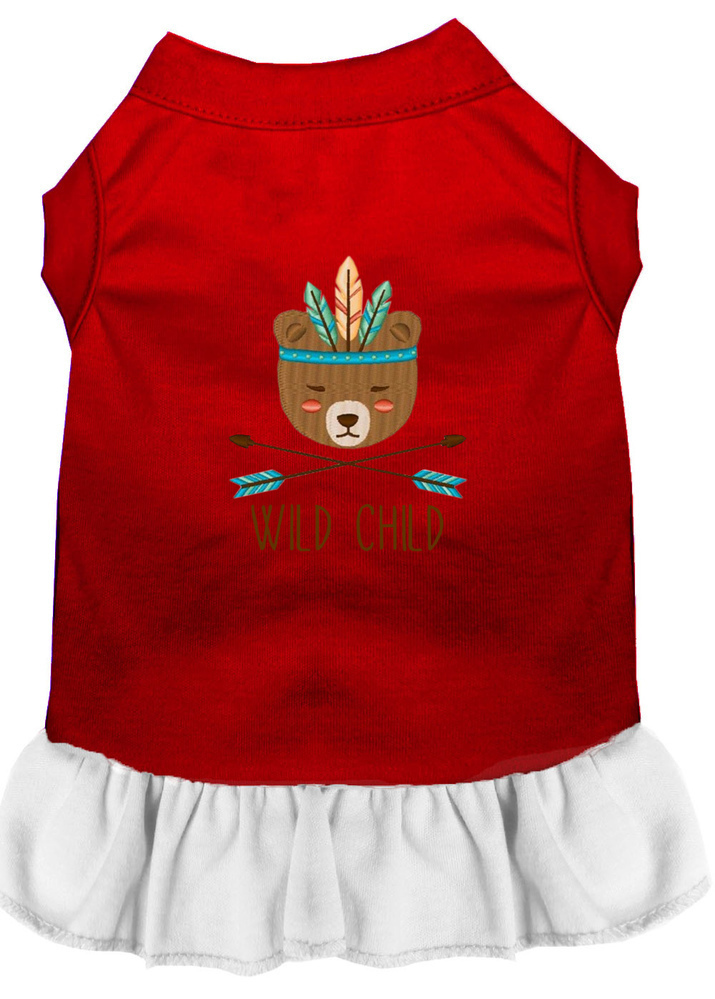 Wild Child Embroidered Dog Dress Red with White Med (12)