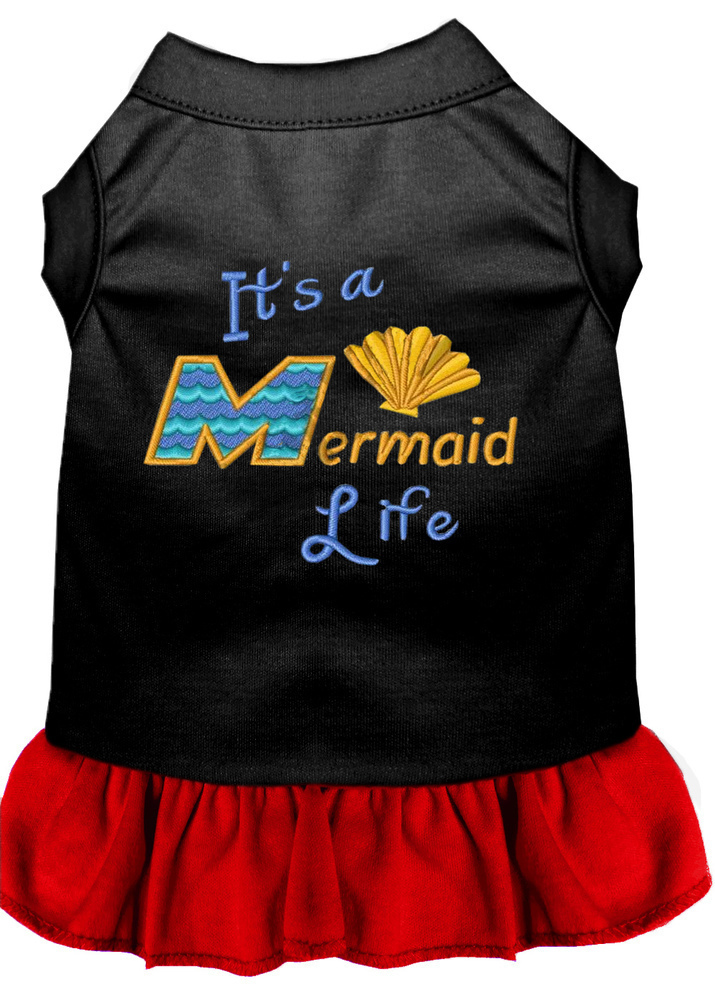 Mermaid Life Embroidered Dog Dress Black with Red Med (12)