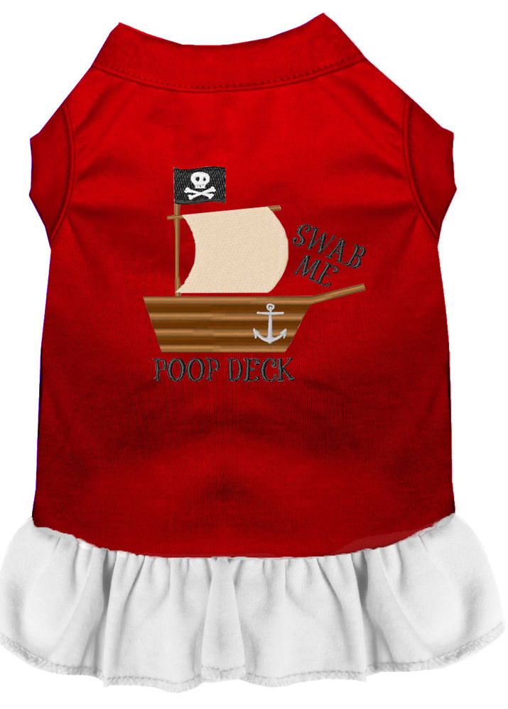 Poop Deck Embroidered Dog Dress Red with White Med (12)