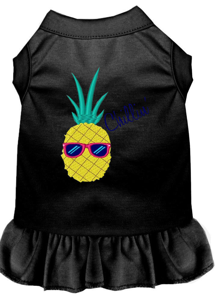 Pineapple Chillin Embroidered Dog Dress Black XXL (18)