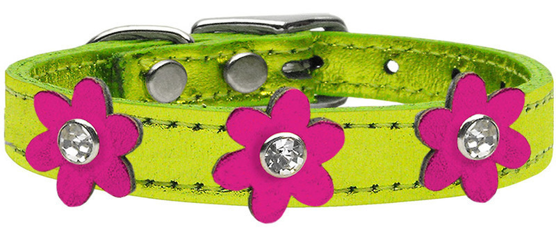 Metallic Flower Leather Collar Metallic Lime Green With Metallic Pink flowers Size 26