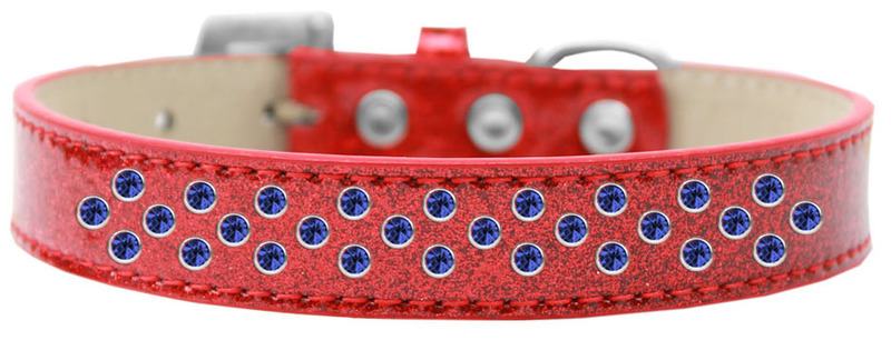 Sprinkles Ice Cream Dog Collar Blue Crystals Size 14 Red