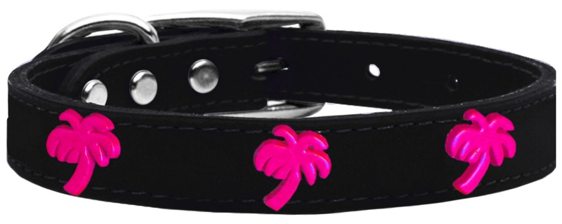 Pink Palm Tree Widget Genuine Leather Dog Collar Black 18