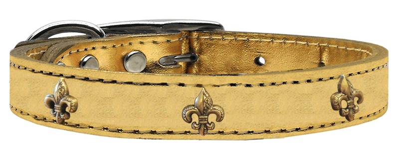 Bronze Fleur De Lis Widget Genuine Metallic Leather Dog Collar Gold 22