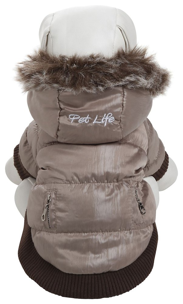 Pet Life Metallic Fashion Pet Parka Coat: X-Small, Metallic Grey