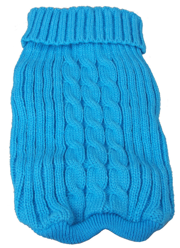 Pet Life Heavy Cotton Rib-Collared Pet Sweater: Medium, Light Blue