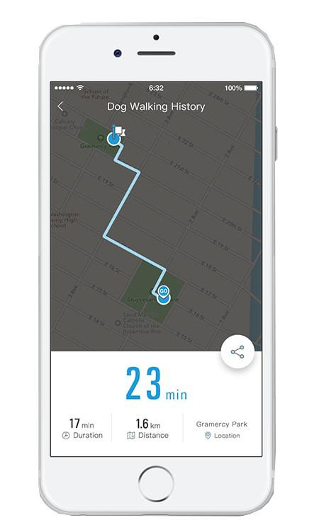 PETKIT Petkit Go Bluetooth Distance Activity Monitoring And Handle Notification Vibrating Smart Dog Leash With User Controlled Led And Banded Light Sensors: One Size, White