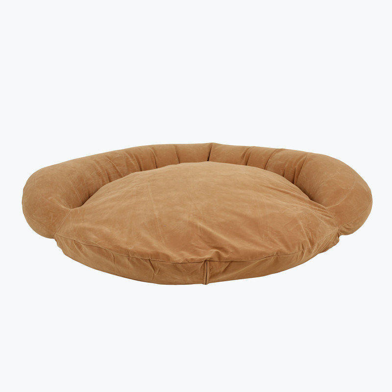 Carolina Pet Products VELVET MICROFIBER BOLSTER BED: Caramel
