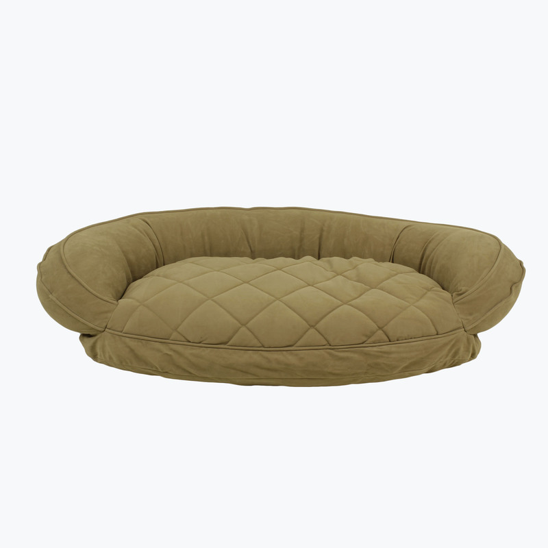 Carolina Pet Products MICROFIBER QUILTED BOLSTER BED with MOISTURE BARRIER PROTECTION: Sage