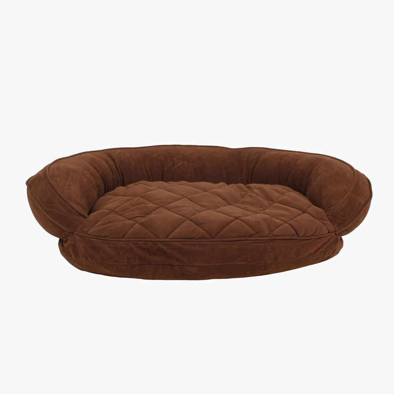 Carolina Pet Products MICROFIBER QUILTED BOLSTER BED with MOISTURE BARRIER PROTECTION: Chocolate