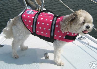 Paws Aboard Designer Dog Life Jacket: Pink, Polka Dot, Small