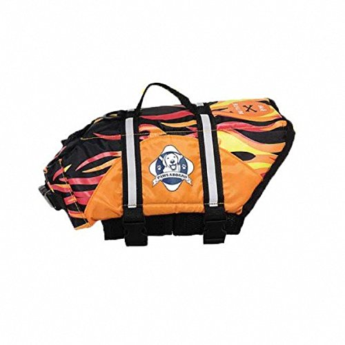 Paws Aboard Dog Life Jacket: Racing flames, Large