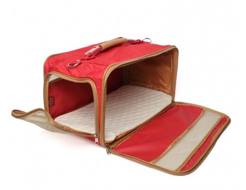 Bark N Bag Nylon Classic Carrier Collection: Small, Red/Tan