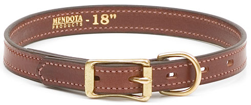"Mendota Pet Narrow Standard Collar: Chestnut, 3/4"" x 18"""
