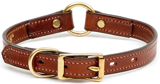 "Mendota Pet Narrow Hunt Collar: Chestnut, 3/4"" x 14"""